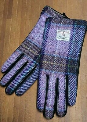 Ladies 100/% Harris Tweed Purple Blue Green Check and Black Leather Gloves