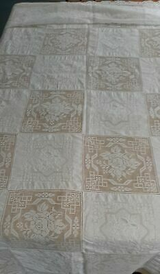 "Vtg Beautiful White Tablecloth 64"" by 98"" Lace and Embroidery blocks"