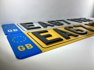 Pair Of Road Legal Front & Rear Raised Laser Cut 3D 4D GB EURO Reg Number Plates