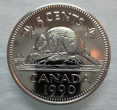 1990 Canada 5 Cents Proof-Like Nickel Coin