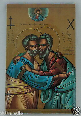 Vintage Russian Or Greek Orthodox Antique Style Icon Wood & Lacquer