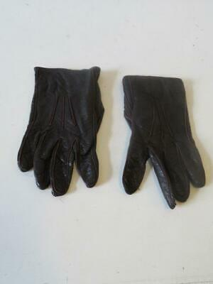 Womens Calvin Klein  Brown Leather Gloves Sz 6.5 *