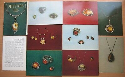 16 Russian POST CARD Amber Inclusion Card Jewelry Old Antique Hand Made Vintage
