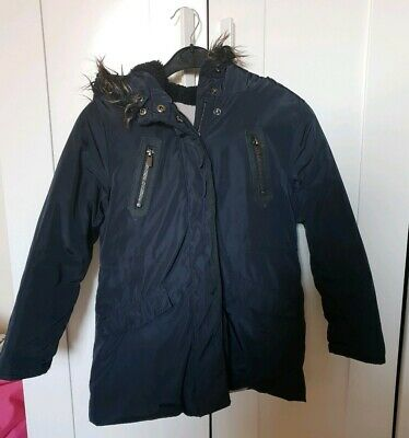 Girls Zara Thick Cosy Navy Winter Coat Jacket Faux Fur 7 - 8 Years
