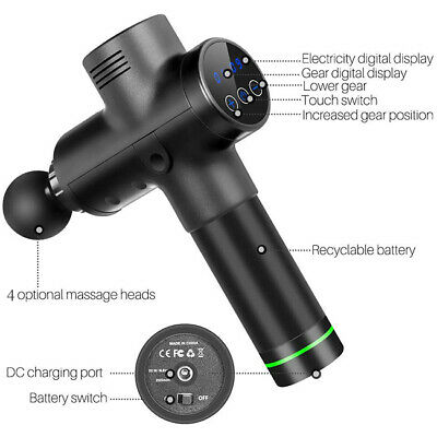 Massage Gun Percussion Vibrating Muscle Therapy Massager LCD 20 Speed 4 Heads