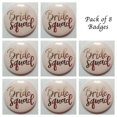 8 x HEN PARTY BADGES BRIDE SQUAD NIGHT DO PINK ROSE GOLD ACCESSORIES BAG FILLERS