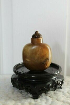 19th Century antique Chinese Qing dynasty Serpentine Jade snuff bottle #20192