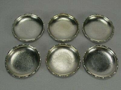 6 Antique Chinese Hong Kong Sterling Silver Sharkskin Texture Dishes by Wai Kee