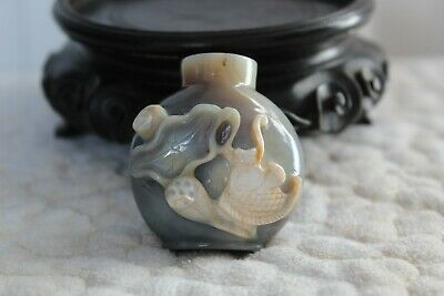 late 19th Century antique Chinese Qing dynasty agate carved snuff bottle #20197