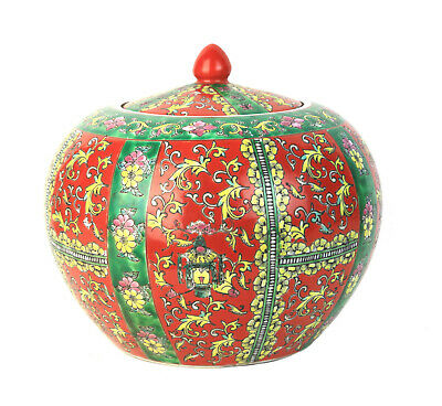 Antique Chinese Lidded Melon Ginger Jar, Iron Red, Green & Yellow Floral