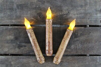 "THREE Country Burnt Ivory 6"" - 6.5"" Battery Operated TIMER Taper Candles"