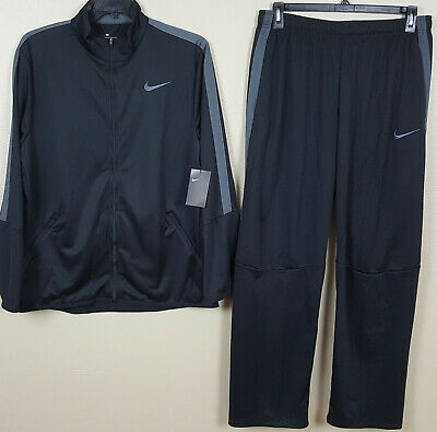 Nike Dri-Fit Basketball Track Suit Jacket + Pants Black Grey Rare New (Size Xl)