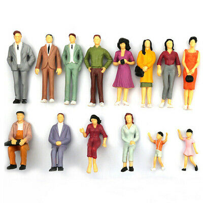 1:75 Mixed Painted People Figures Model Railway Scenery Sitting Position Decor