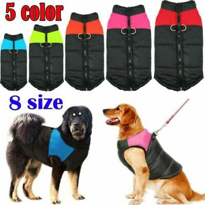 Winter Warm Padded Dog Clothes Big Dogs Waterproof Pet Coats Vest Jacket Costume