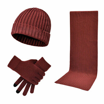 Women's 3-In-1 Winter Warm Beanie Hat Knitted Hat with Circle Scarf and Gloves