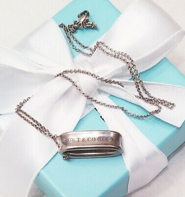 Tiffany & Co 925 Sterling Silver 1837 Oval Loop Slider Pendant Chain Necklace