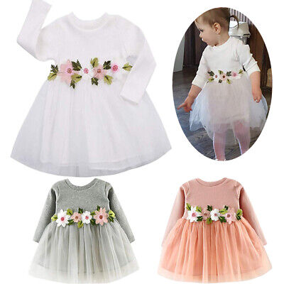 Infant Baby Girl Flower Princess Dress Party Lace Tutu Dresses Sundress Spring