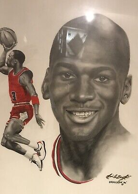 Michael Jordan One Of A Kind Color Pencil Sketched Poster Elwin A Broughton 1/1.