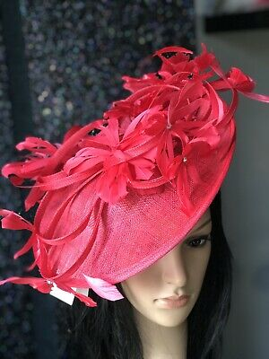 PETER BETTLEY RED WEDDING  DISC FASCINATOR Mother Of The Bride Hat OCCASION