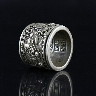 Collect GuangXu First Year Miao Silver Carve Ancient Figure Precious Decor Ring