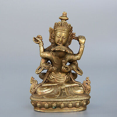 Collect China Old Bronze Hand-Carved Happy Buddha Delicate Unique Decor Statue