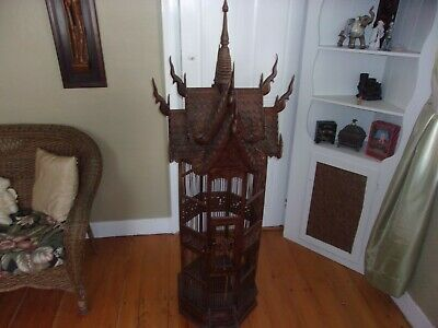 Large Ornate All Wood Birdcage from Thailand