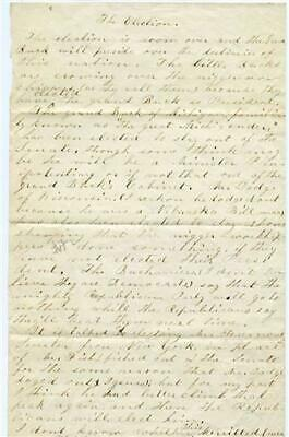 1856 Hand Written Speech Delivered to Comment on Presidential Election