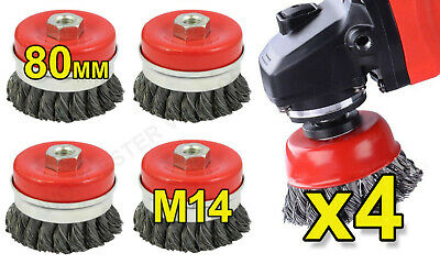 Twist Knot Wire Cup Brush x 4 Heavy Duty Professional Use 80mm M14 Angle Grinder
