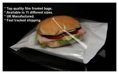 1000 x Film Front White Paper Bags Cellophane Window for food,cakes,crafts