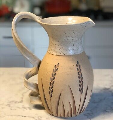 "Handturned Stoneware  10"" LARGE PITCHER Artisan Pottery, Tameria Martinez 2006"