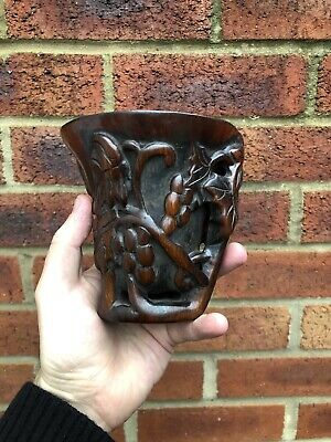 Interesting Carved Libation Cup Impressed Seal Mark Chinese Zitan Interest