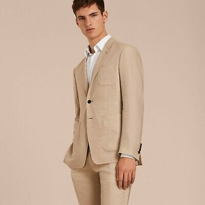 Nwt Burberry Beige Stone Linen Cashmere Wool Suit Eu 46 R/Us 36 R Italy $1995