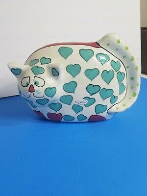 """Vintage GANZ Hand Painted Hearts Cat Bank """"Heartly""""  Signed by Pati"""