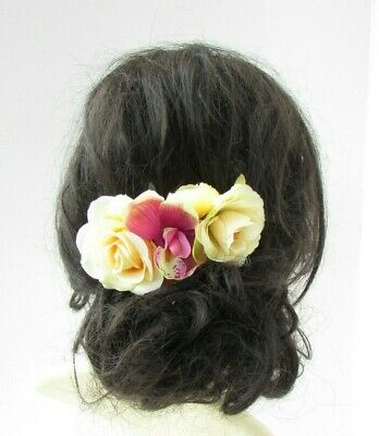 Lemon Light Yellow Pink Rose Orchid Flower Hair Comb Fascinator Wedding 8013