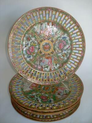 Set 6 Chinese Export Porcelain Famille Rose Medallion Reticulated Plates 19Th C