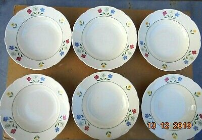 6 Anciennes Assiettes Creuses  Porcelaine VILLEROY & BOCH METTLACH,MADE IN GERMA