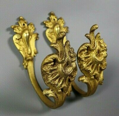Gilt Bronze French Chateau Antique Curtain Tie Backs Wall Hooks Louis XV Style