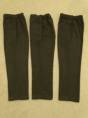 3 x Pairs Boy's Classic Fit Pull-On Grey School Trousers from Matalan Age 8 Yrs
