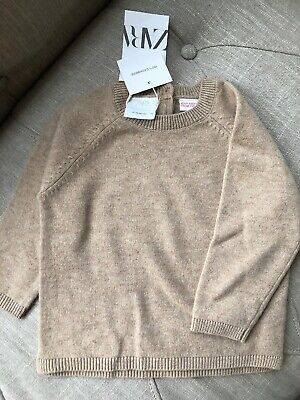 New Zara Baby Toddler Boy Girl 100% Cashmere Tan Brown Pullover Sweater 18-24M