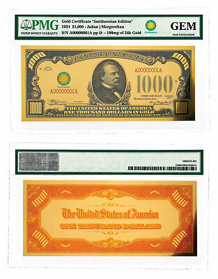 (2018) $1,000 24K Gold Certificate - Smithsonian Edition 1934 PMG GEM SKU60436