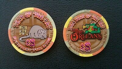 orleans las vegas chinese new year of the rat   $8 casino chip unc