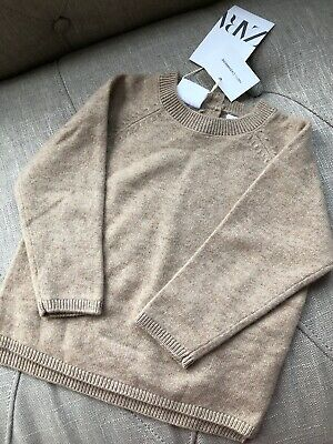 New Zara Baby Toddler Boy Girl 100% Cashmere Tan Brown Pullover Sweater 12-18M