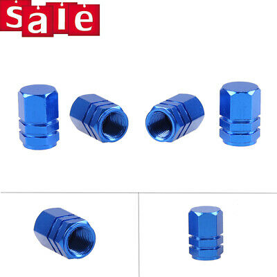 4X Red Wheel Tyre Tire Valve Stems Air Dust Cover Screw Caps Car Truck Blue