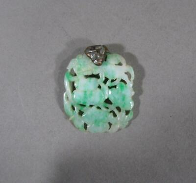 Antique Chinese Carved Apple Green Jade Plaque, Foo Dog, Pendant
