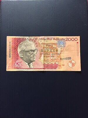 Circulated Mauritius 2k Denomination Bank Note. Ideal For Collection