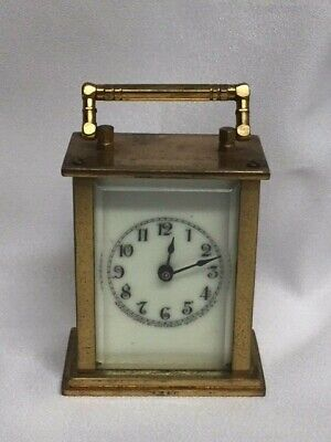 VINTAGE WATERBURY   MINIATURE BRASS CARRIAGE  CLOCK  (Selling AS-IS)