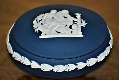 Wedgwood Jasperware Portland Blue & White Trinket Jewelry Box