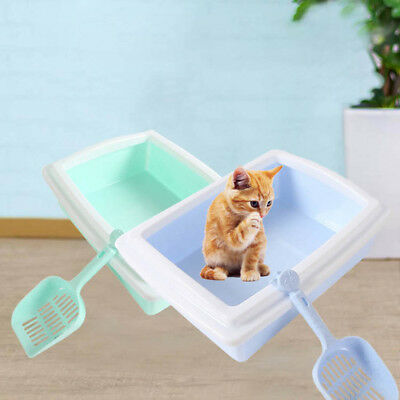 NE_ EE_ QA_ Puppy Pet Cat Kitty Litter Box with Scoop Sand Toilet Cleaning Sup