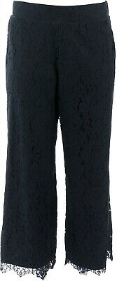Isaac Mizrahi Floral Lace Knit Culotte Pants Black M NEW A353075