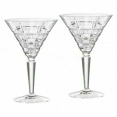 Marquis by Waterford Crosby Martini Pair Crystal Wine Cocktail Glasses SRP $100